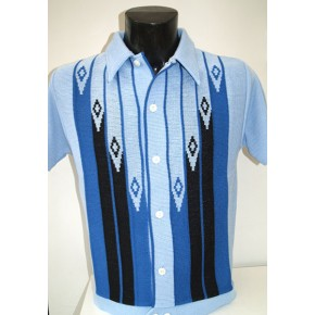 Sky Blue Diamond Knitted Shirt