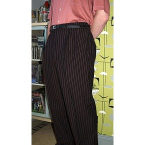 Brown Pinstripe Triple Pleat Trousers