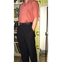 Navy Pinstripe Triple Pleat Trousers