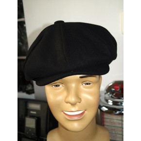 Wool Baker Boy Cap - Black