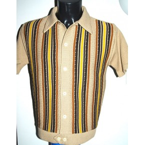 Beige Striped Knitted Shirt