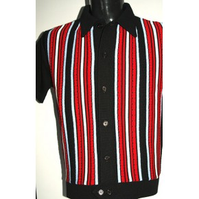 Black - Red/Sky Stripe Knitted Shirt