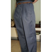 Steel Blue Stripe High Waisted Trousers