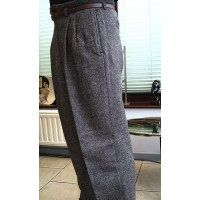 Brown Tweed High Waisted Trousers