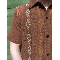 Brown 3 Diamond Knitted Shirt