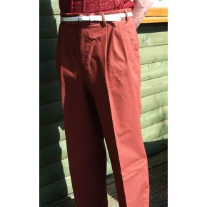 Burnt Orange Triple Pleat Trousers