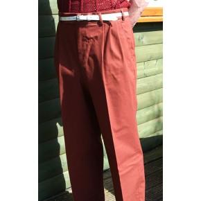 Burnt Orange Triple Pleat Trousers