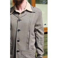 Beige Houndstooth Check Hollywood Jacket
