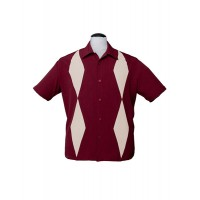 Steady - Burgundy Diamond Duo Bowling Shirt