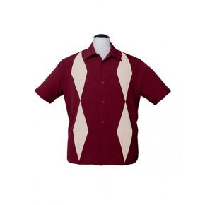Burgundy Diamond Duo Bowling Shirt