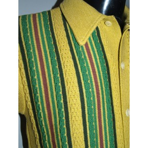 Mustard Striped Knitted Shirt