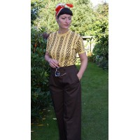 'Katherine' Brown Swing Trousers