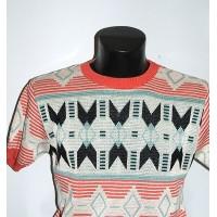 Coral Aztec Knit