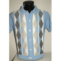 Sky Blue Argyll Knitted Shirt