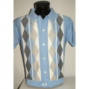 Sky Blue Argyll Knitted Shirt