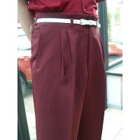 Burgundy Herringbone High Waisted Trousers