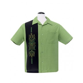 Steady - Green pinstripe panel Shirt