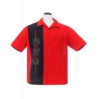 Steady - Red pinstripe panel Shirt