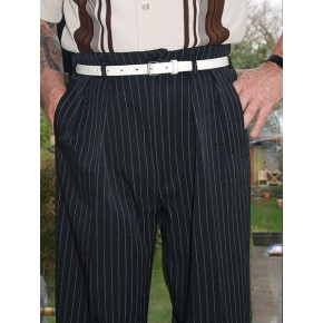 Black PinStripe 40Ts High Waisted Trousers