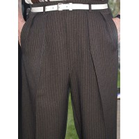 Brown Pinstripe 40Ts High Waisted Trousers