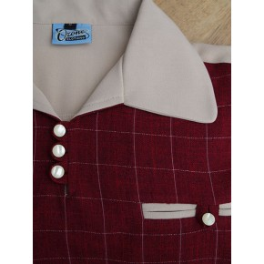 Cream/Claret Check Gaucho Shirt
