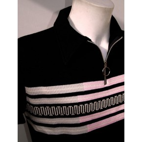 Black 'Fazed Out' Zipper Knitted Shirt