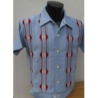 Sky Blue Honeycomb Knitted Shirt
