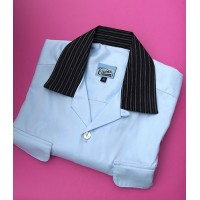 Ice Blue/Black Collar Long Sleeved Gab Shirt