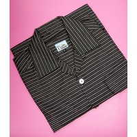 Black Silver Sparkle Stripe Shirt Sleeve Shirt