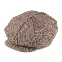 Brown Herringbone Big Apple Cap
