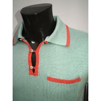 'The Franco' Mint and Coral Knitted Shirt