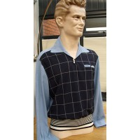 Navy Blue Check Light Weight Gaucho Shirt