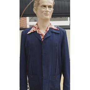 Navy Blue Seersucker Hollywood Jacket