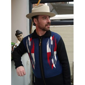 ' The Santa Fe ' Navy Knitted Zipper